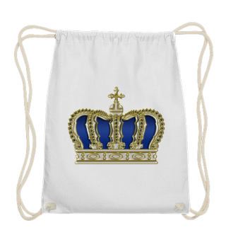 Royal Cross Crown - Gold White Blue Text
