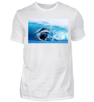 Megalodon Shark and a Surfer in Sea Wave