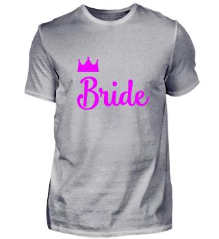 Bride mit Krone JGA Party pink