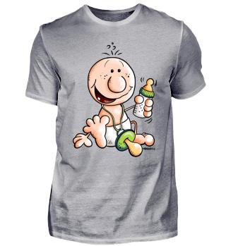 Baby mit Flasche und Schnuller Comic Fun