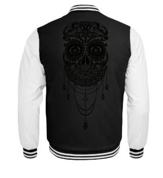 Skull Dotwork Face Veil tattoo - black