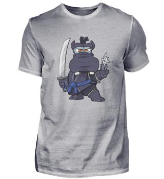 Samurai Ninja Hippo with Sword and Throwing Knives