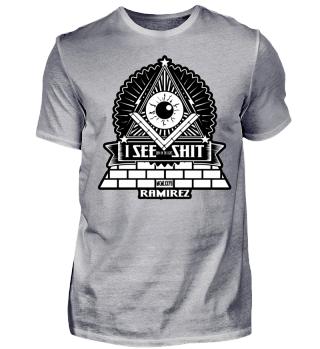 Herren Kurzarm T-Shirt Illuminati I See Shit Ramirez