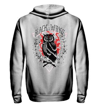 Herren Zip Hoodie Sweatshirt Black Wings Ramirez