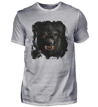 Wolfsgesicht mit roten Augen
