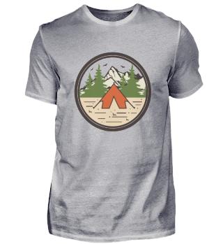 Zelt Mit Berglandschaft Und Vögeln