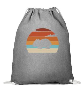 Retro Sunset Wombat Silhouette