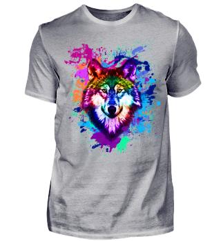 bunter Wolf T-Shirt
