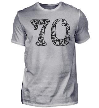 Geburtstag 70 ausmalen - schwarz
