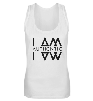 Authentic I Am Wht Ladies Tanktop