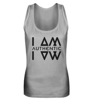 Authentic I Am Wht Ladies Tanktop