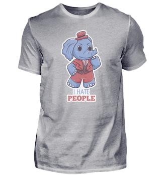 I Hate People Elefant lustig Spruch