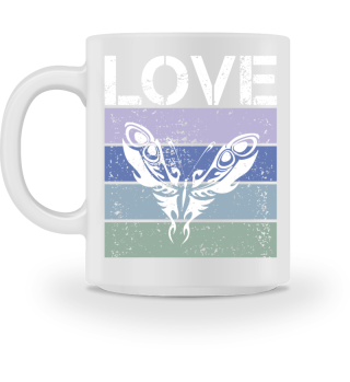 Stripes - LOVE Tattoo Butterfly - white