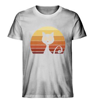 Retro Katze 80er Sunset Vintage Cat