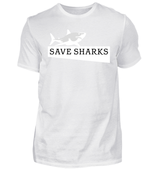 SAVE SHARKS - weisser Hai