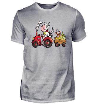Kuh Fährt Traktor I Bauernhof Tiere