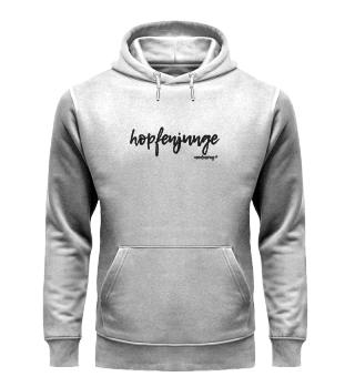 unisex hoodie hopfenjunge schwarze schrift