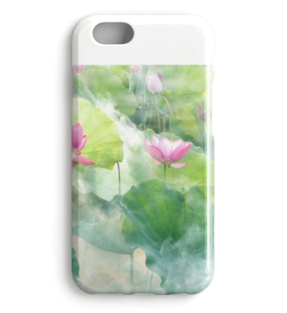 Lotusblume im Morgendunst edle iPhone Handyhülle Case