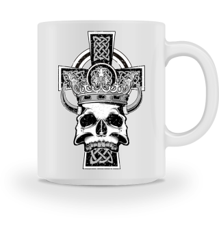 Celtic Cross King Skull Crown Horns