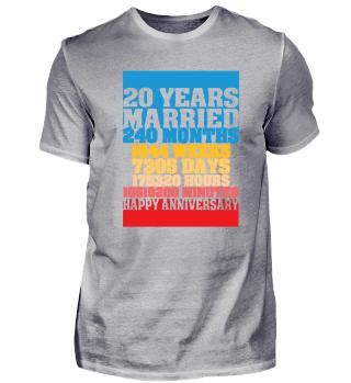 20 Years Married 20. Hochzeit T-Shirt