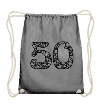 Geburtstag 50 ausmalen - schwarz