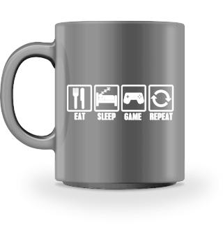 Eat Sleep Game Repeat Tasse