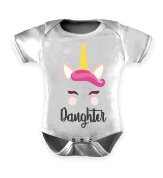 Tochter Daughter Einhorn Baby Strampler