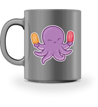 Cute Octopus with Ice Cream