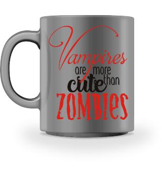 Cute Vampires VS Zombies - red black
