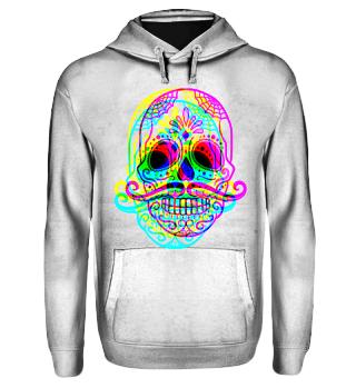 Psychedelic Neon Skull Schnurrbart