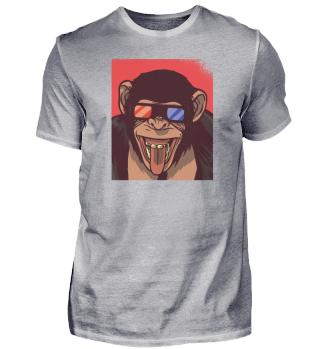 Affe mit 3D Brille / Geschenk