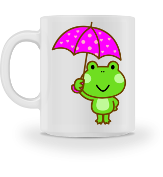 Cup with cute frog and umbrella