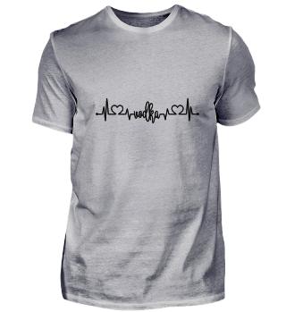 Vodka Schnaps Alkohol EKG Herz T-Shirt