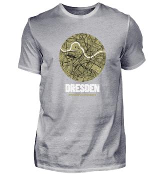 Dresden – City Map Stadtplan (oliv)