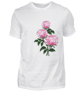 T-shirt with watercolor Pink roses