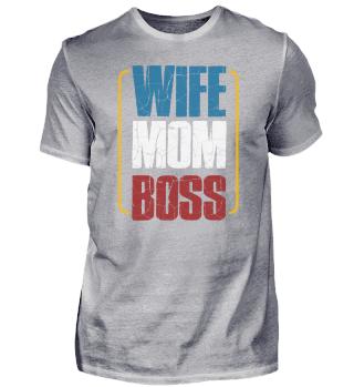 Wife Mom Boss Cute Mom Life Tee
