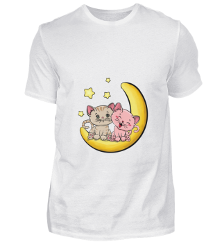 D001-0022B Cats Love on the moon / Katze