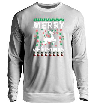 Merry Christmas Hirsch mit Schneeflocken