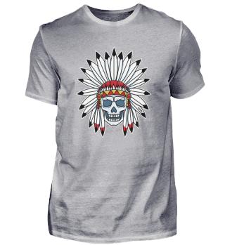 Totenkopf Indianer Häuptling Federschmuc