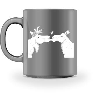 Tasse mit knutschenden Elche