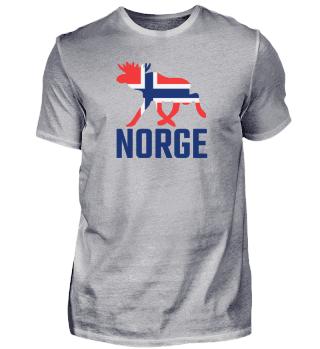 NORGE / Elch mit Norwegen Flagge Urlaub