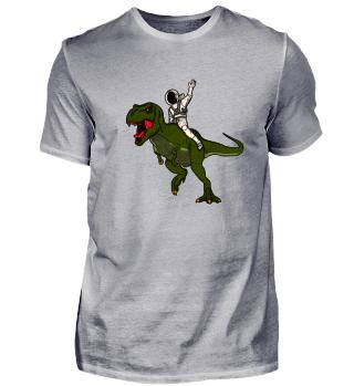 Astronaut reitet auf Dinosaurier T-Rex