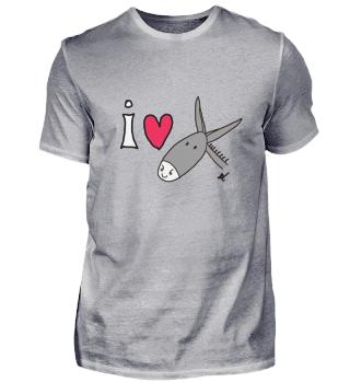 Herren T-Shirt I LOVE DONKEYS