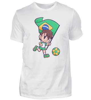 Brazil flag football player boy