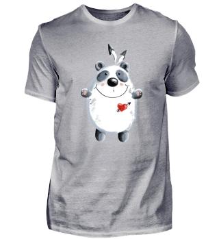 Happy Panda mit Feder I Herz I Geschenk