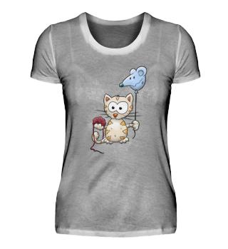 Kawaii Kätzchen Katze Maus-Ballon & Woll-Knäuel