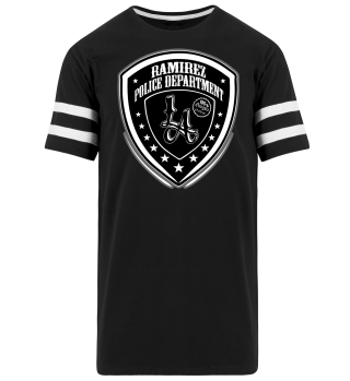 Herren Kurzarm T-Shirt Police Department BW Striped Ramirez