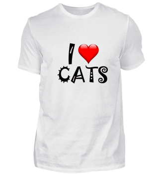 I Love cats design black