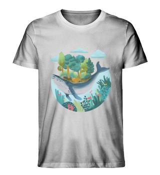 Wal mit Insel schwimmt neben Korallen