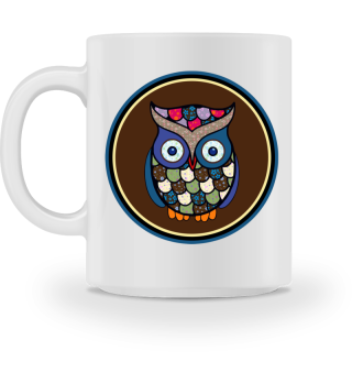 Funny Flower Patchwork Owl Button